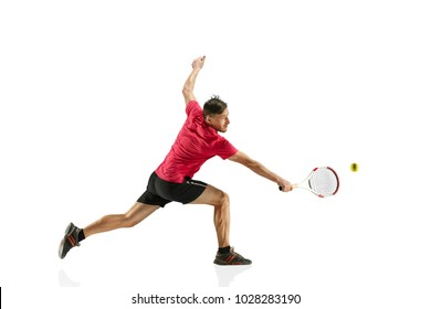 I am saving this ball now. Player lunge, game of defense. The one caucasian fit man playing tennis at studio. Player isolated on white background in full length with racquet and ball. Emotions on face