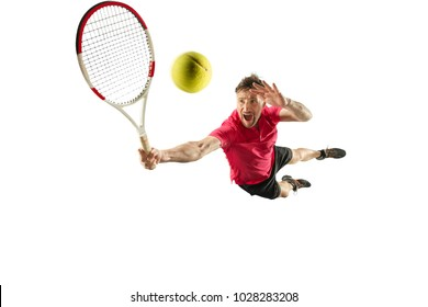 I am saving this ball. Player throw in flight, defense. Jump. Caucasian man playing tennis at studio. Player jumping, isolated on white background in full length with racquet and ball. Emotions, face