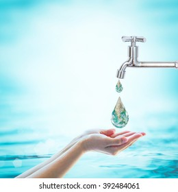 Saving water and world environmental protection concept. Element of this image furnished by NASA