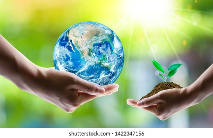 Saving world Ecology concept. Elements of this image furnished by NASA