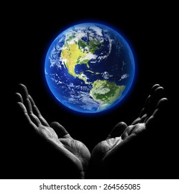 Saving world. Elements of this image furnished by NASA