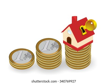 savings and family house with key