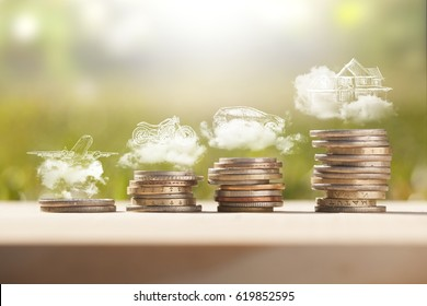 savings money coins stack for dream travel,car and house