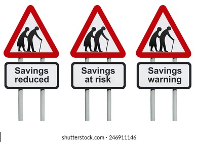 Savings warning, at risk, reduced on a road sign