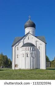 Savior church on Ilyina street (1374) in Novgorod Veliky, Russia