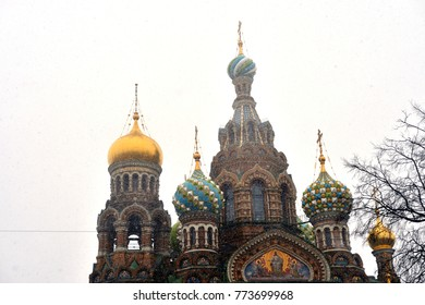 Savior on Spilled Blood Cathedral at snowy day in St.Petersburg, Russia.