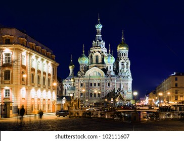 Savior on Spilled Blood in the night of the city (St. Petersburg, Russia)