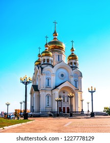 Savior Transfiguration Cathedral near the embankment of the Amur River in the Far Eastern city of Khabarovsk