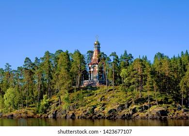 Savior Transfiguration Valaam Monastery. Chapel of the Valaam Icon of the Mother of God on the Island of Light. Valaam Islands. Karelia. Ladoga lake. Russia