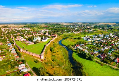 The Saviour Monastery of St. Euthymius aerial panoramic view in Suzdal city, Golden Ring of Russia