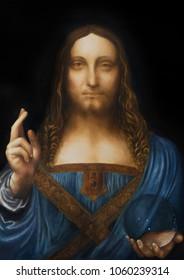 Saviour of the world. Salvador mundi. My own reproduction of Leonardo DaVinci painting.