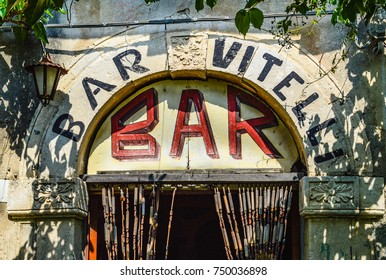 SAVOCA, SICILY, ITALY, August 15 2015: Bar Vitteli, Savoca, one of the most famous movie location, a place where The Godfather motion picture was recorded.