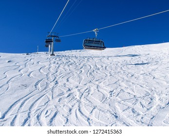 Savognin, Switzerland - January 22, 2017: region, snow-covered mountains and ski slopes