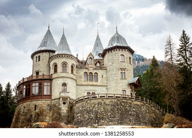 Savoia Castle on a cloudy day, Gressoney Saint Jean, Aosta, Italy