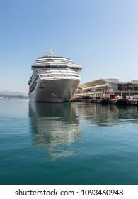 Savona, Italy - May 15, 2017: The Costa Favolosa cruise ship in the Ligurian sea port at the cruises terminal in Savona, Italy.