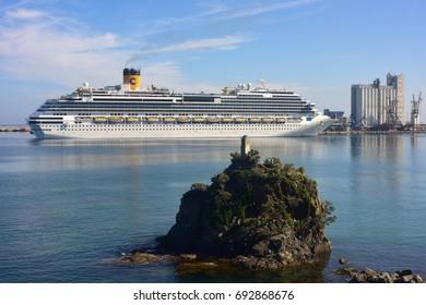 Savona Italy, May 15, 2017: The Passenger Ship  Costa Favolosa, of cruise company Costa Crociere, leaves the port of Savona