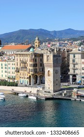 "Savona, Italy - September 20, 2015: Leon Pancaldo Tower, commonly called ""Torretta""  at the harbour of Savona, Italy, dedicated to the italian exlorer and nevigator Leon Pancaldo (1490 – 1538)."