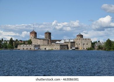 Savonlinna, Finland - 20 July 2015. The Saint Olaf's Castle (Olavinlinna), medieval fortress on the island in very heart of the town. Lakeside view