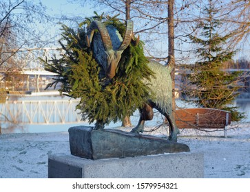 SAVONLINNA, FINLAND - JANUARY 1, 2012: Monument to Black Ram which once saved Olavinlinna Castle from attacking Russian troop. The monument by sculptor Herman Anton Ravander-Rauas was erected in 1964.