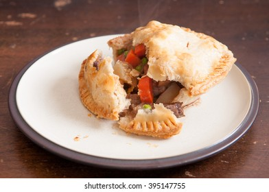 savory beef meat pie with pastry topping