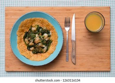 Savory Lentil Pancakes filled with Spinach and Black Salsify