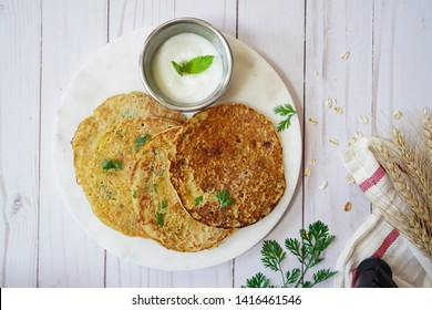 Savory Oats Semolina pancakes or Dosa / Healthy breakfast concept,top view