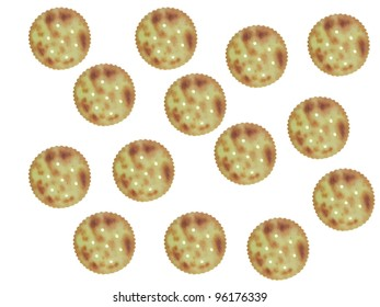 Savoury biscuits isolated against a white background