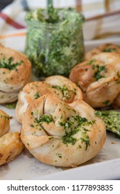 Savoury snack made from puff pastry with garlic herbal butter