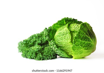 Savoy cabbage (Brassica oleracea L. convar, capitata var., Sabauda) and cabbage Kale or Grunkol or Braunkol or Brunckol (var Sabellica), isolated on white background.Selective focus, copy space.