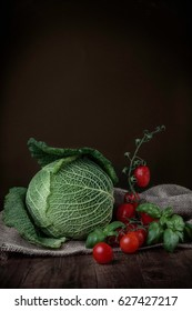 Savoy cabbage with cherry tomatoes and fresh basil