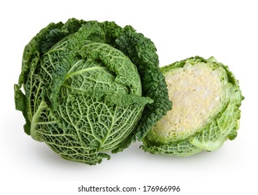 Savoy cabbage isolated on white background with clipping path