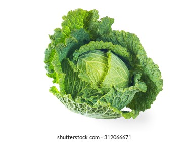 Savoy cabbage isolated on white, free copy space