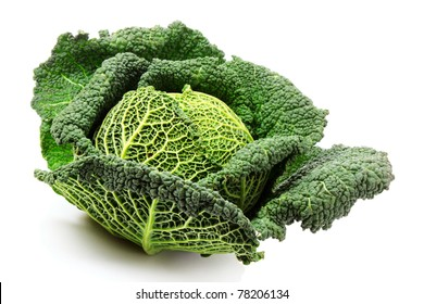 Savoy cabbage isolated on white