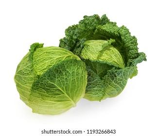 Savoy cabbage isolated white background