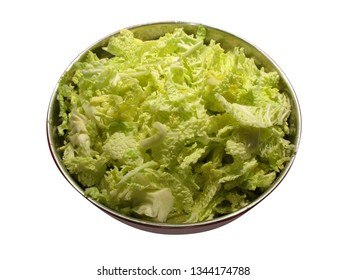 savoy cabbage in metal bin, isolated