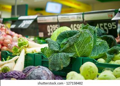 Savoy cabbage on box in supermarket