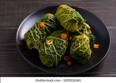 Savoy cabbage rolls with meat, rice and vegetables. Stuffed savoy cabbage leaves with meat. Chou farci, dolma, sarma, sarmale, golubtsy or golabki -popular dish in many countries. horizontal