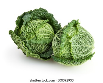 Savoy cabbages isolated on white background with clipping path