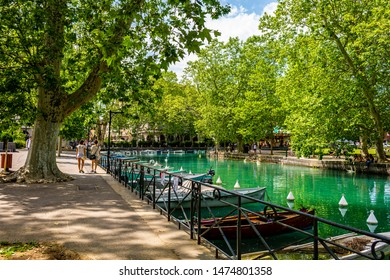 Auvergne-Rhône-Alps; SAVOY; FRANCE - July 6, 2019: View of the boats in the Canal du Vasse' on the Thiou in the center of the medieval city, in summer.