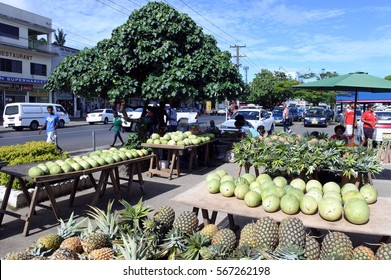 SAVUSAVU, FIJI - JAN 07 2017: Fresh tropical fruits in Savusavu market. Savusavu is a popular travel destination in Fiji known for its diving and yachting facilities.