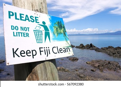 SAVUSAVU, FIJI - JAN 15 2017:Keep Fiji Clean sign.In Fiji illegal dumping and burning of waste are still common due to inadequate enforcement which increases the health and safety risks in the country