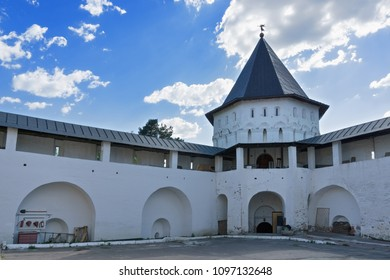 Savvino-Storozhevski monastery tower and wall, Zvenigorod, an old town in Moscow region, Russia