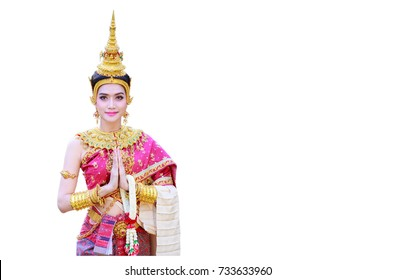 """Sawasdee"" Thai girl in traditional Thai costume with isolated on white background, identity culture of Thailand."