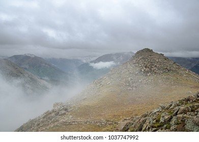 Sawatch mountains in Colorado wreathed in clouds and mist