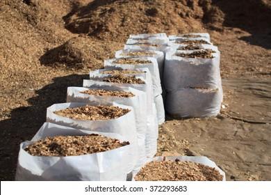 Sawdust fertilizer in the white plastic bags