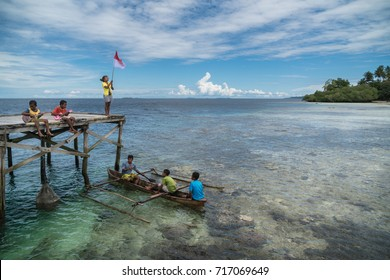 Sawinggrai village, Raja Ampat, West Papua, Indonesia - August 7, 2017 : Practicing for the National Independence day on August 17