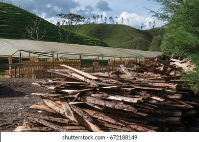 Sawmill Farm with lumber in  the foreground