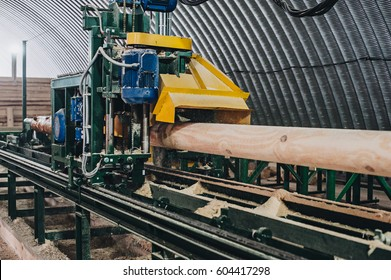 Sawmill. Process of machining logs in a machine different view close. machine, machinery, process, saw, sawdust, sawing, sawmill, technology, timber, tool, tree, trunk, wood, wooden, woodworking, work