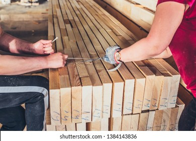 Sawmill - women strapping boards - production of laminated veneer lumber
