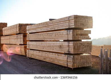 Sawmill.Wooden products cut out on sawmill, complex and awaiting distribution for markets.-Image